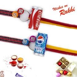 Set of 2 Stylish Pepsi and Coca Cola Motif Rakhi