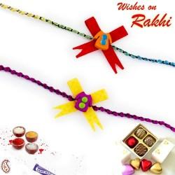 Set of 2 Yellow and Red Dress Motif Kids Rakhi