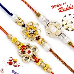 Set of 3 Beads Embellished Floral Motif Rakhi