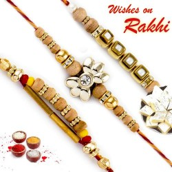 Set of 3 Beige Bhaiya Rakhi