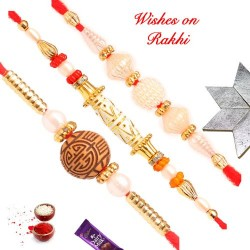 Set of 3 Fancy Beads and Pearls Rakhis