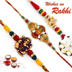 Set of 3 Multicolor Traditional Rakhi