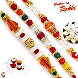 Set of 3 Pearl and Colorful Beads Embellished Rakhi