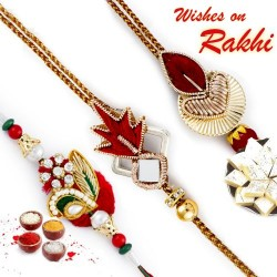 Set of 3 Red Zardosi Rakhi