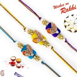 Set of 3 Rich Zardosi Work Yellow and Blue Rakhi