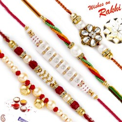 Set of 5 AD and Kundan Studded Pearl Rakhi