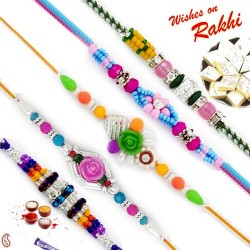 Set of 5 AD Embellished Floral Motif Rakhi