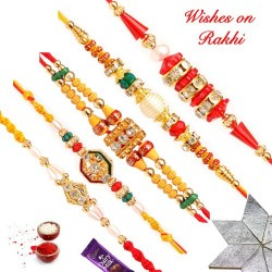 Set of 5 AD Pearls and Beads Rakhis