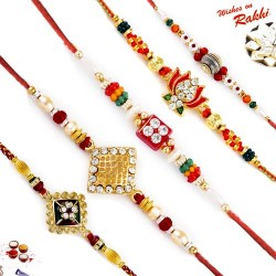 Set of 5 American Diamonds and Golden Beads Premium Rakhi