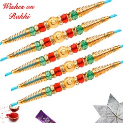 Set of 5 Beads Crystal and AD Rakhi