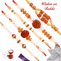 Set of 5 Beautiful Pearls Rudraksh and Beads Rakhi
