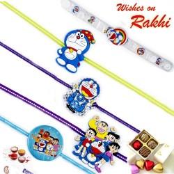 Set of 5 Blue Doremon Motif Kids Rakhi
