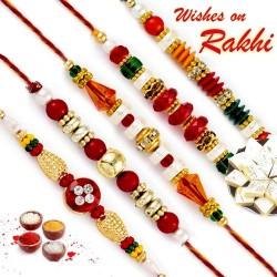 Set of 5 Charming Multicolor Beads Studded Rakhi