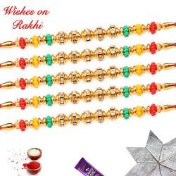 Set of 5 Colorful Beads and Diamonds Rakhi