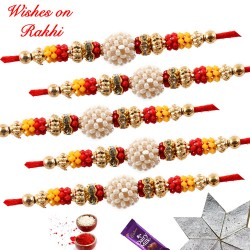 Set of 5 Colorful Beads with Pearls Rakhi