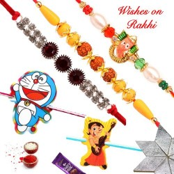 Set of 5  Ganeshji Rudraksh AD Doraemon and Chhota Bheem