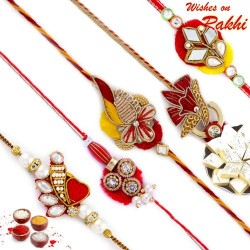 Set of 5 Red Floral Design Zardosi Rakhi
