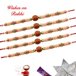 Set of 5 Rudraksh with Beads and Diamonds Rakhi