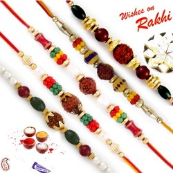 Set of 5 Yellow,Red and Green Beads Rudraksh Rakhi