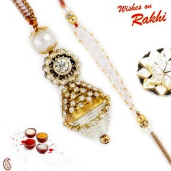 Multicolor Beads Bhaiya Bhabhi Rakhi with 2 Kids Rakhi