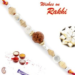Silver and Gold Beads Rakhi with Solo Rudraksh