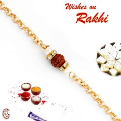 Single Rudraksh Studded Chain Style Rakhi