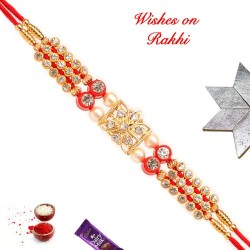 Sparkling AD and Pearls Studded Rakhi