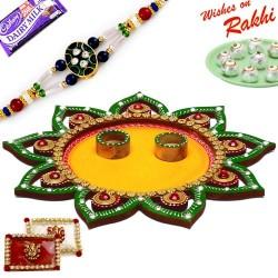 Sparkling Green and Yellow Floral Design Rakhi Pooja Thali with Rakhi