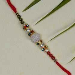 Sparkling Pearls and Beads Work Rakhi