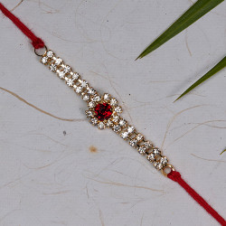 Sparkling Red Stone with AD Rakhi