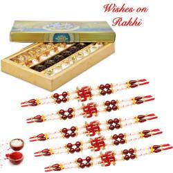 Special Kaju Mix Sweets with Set of 5 Swastik Rakhis