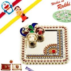 Square Peacock Design Golden Beads Rakhi Thali Hamper with Set of 2 Kids Rakhis