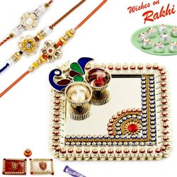 Square Peacock Design Golden Beads Rakhi Thali Hamper with Set of 3 Premium Rakhis