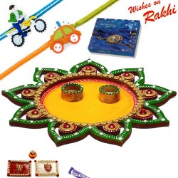 Star Design Cutwork Rakhi Thali Hamper with Set of 2 Kids Rakhis