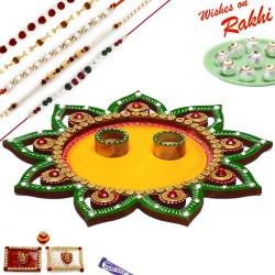 Star Design Cutwork Rakhi Thali Hamper with Set of 5 Premium Rakhis