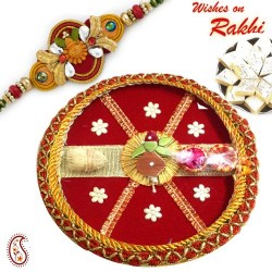 Star Motif Red Pooja Thali with Bhaiya Rakhi