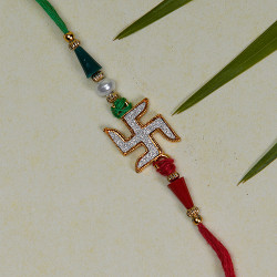 Studded Swastik with Multicolor Beads Rakhi