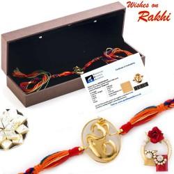 Stylish and Elegant Oval Cut Real Diamond Stud OM Rakhi