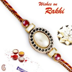 Stylish Oval Design Pearl Rakhi