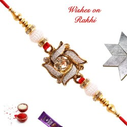 Swastik Style AD Rakhi with Pearls and Beads