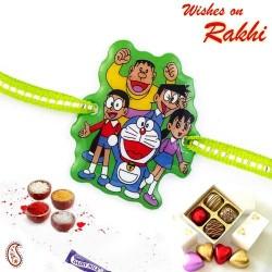 Sweet and Charming Doremon Family Green Band Kids Rakhi