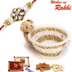 Teddy Motif Cane Basket with Dryfruits and 1 Bhaiya Rakhi