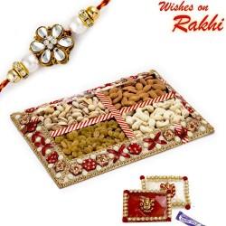 Tic Tac Design Dryfruit Gift Pack with 1 Bhaiya Rakhi