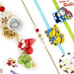 Tissue Flower work Family Rakhi Set with 2 Kids Rakhis
