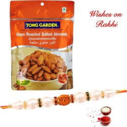 Tong Garden Roasted Almonds Pack with Handcrafted Rakhi