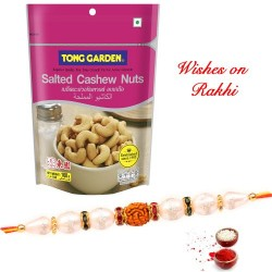 Tong Garden Salted Cashew Nuts with Rudraksh and Pearls Rakhi