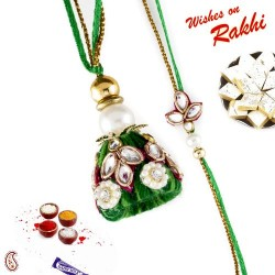 Traditional Green Kundan Work Bhaiya Bhabhi Rakhi Set