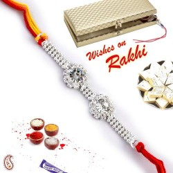 Twin AD Studded Beautiful Silver Rakhi