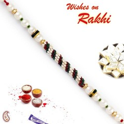 White and Green String Style Pearl Rakhi