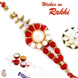 White Pearl and Red Crystal Beads Thread Rakhi